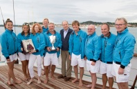The winning crew of Skylark at the Prizegiving of the Hennessy BlueBird Cup 2015