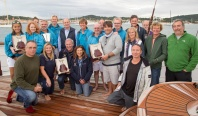 Crews of Skylark, Manitou and Spectre at the Prizegiving of the Hennessy BlueBird Cup 2015
